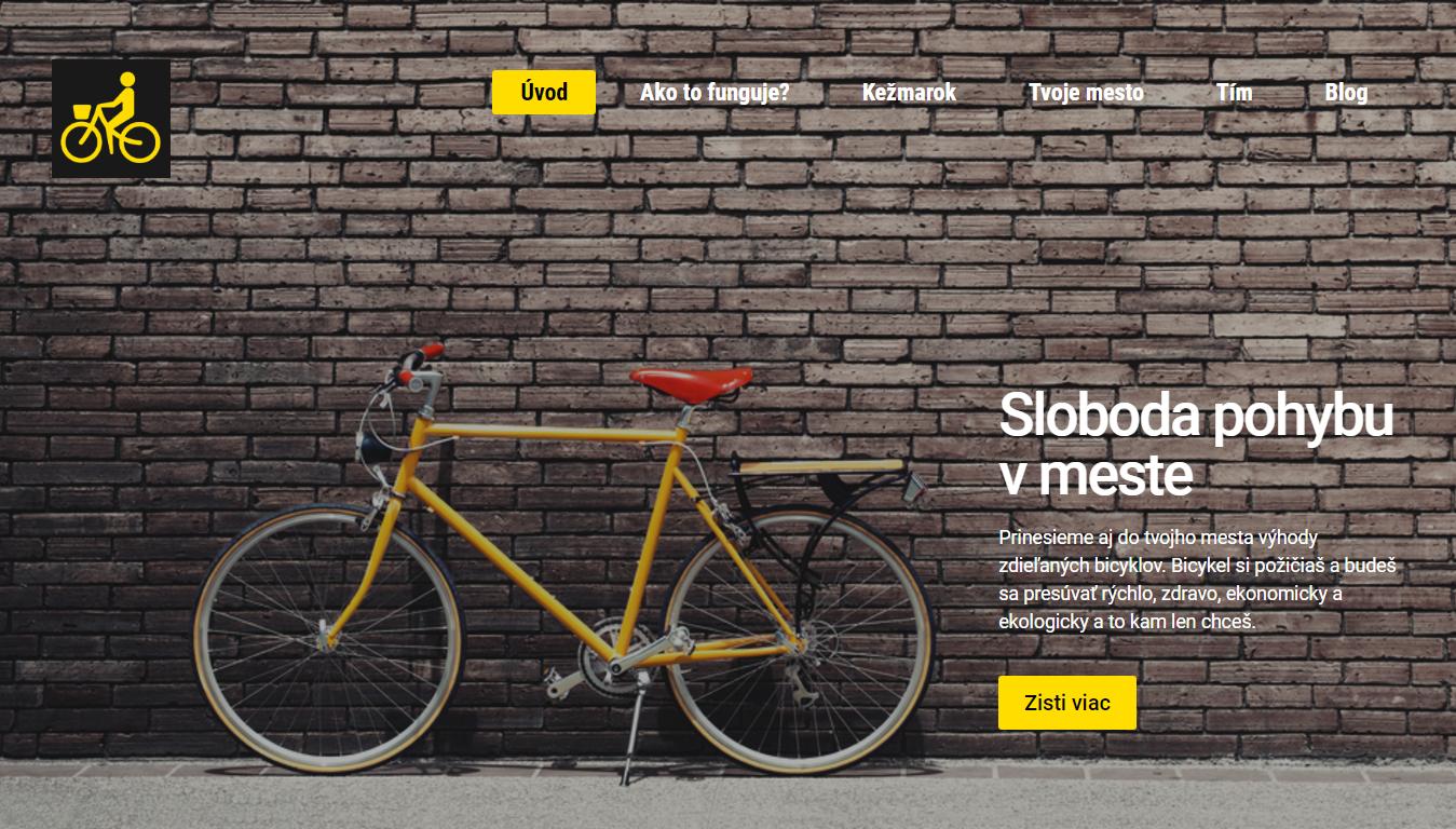 Nový web žlté bicykle